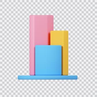 Icona del grafico isolato su bianco 3d reso image