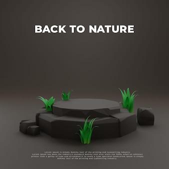 Grass stone 3d realistic podium product promo display