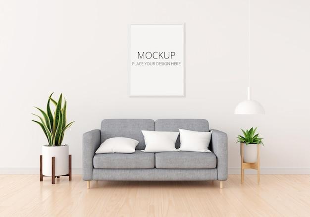 Divano grigio in soggiorno bianco con mockup di cornice