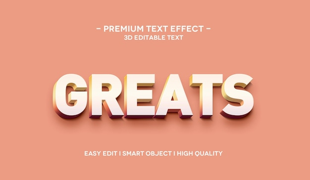 Greats 3d text style effect template