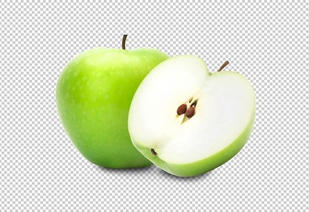 Mela verde e metà isolate su fondo bianco, percorso di ritaglio