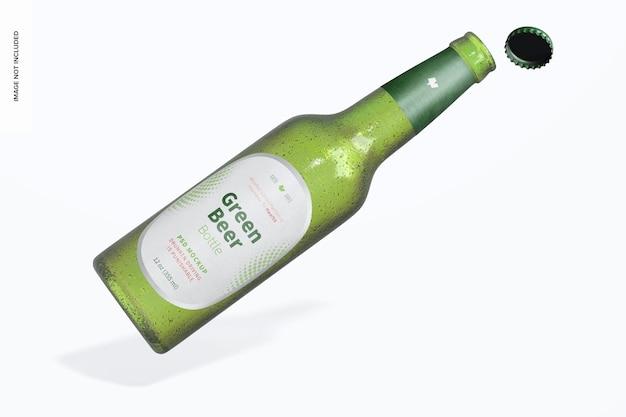 Mockup di bottiglia di birra verde, aperto