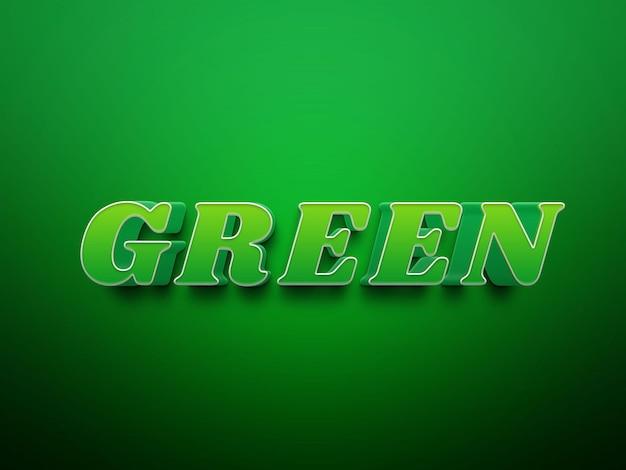 File di effetti di testo psd modificabili di colore verde