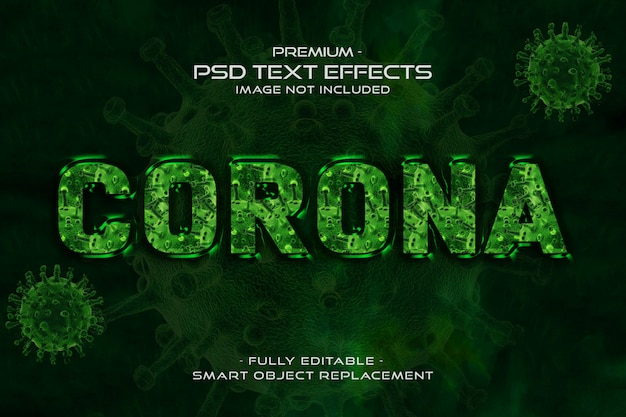 Effetto verde di stile del testo del virus 3d della corona