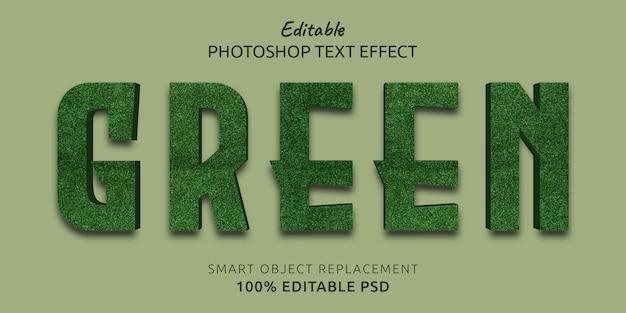 Effetto modificabile verde di stile del testo di photoshop