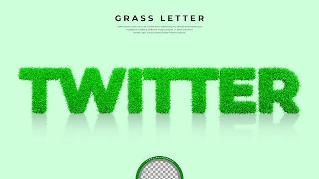 Green grass di twitter word nel rendering 3d