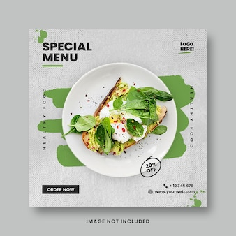 Modello di banner post instagram social media promozione menu cibo sano verde
