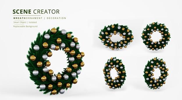 Ornamento di ghirlanda di foglie verdi con creatore di scene di decorazione a sfera in plastica oro e argento