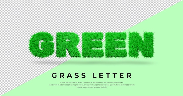 Lettera verde con erba 3d isolata