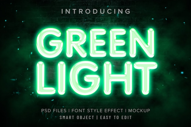Mockup di effetto stile carattere luce verde