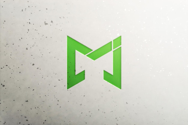 Mockup logo verde sulla parete