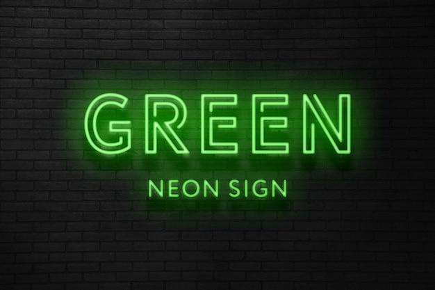 Effetto di testo del segno al neon verde