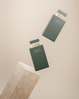 Modello di logo di lusso della bottiglia di profumo verde per la presentazione del marchio su sfondo beige