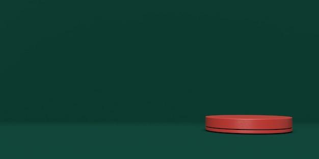 Rendering 3d verde e rosso del podio di forma della geometria della scena astratta per la visualizzazione del prodotto