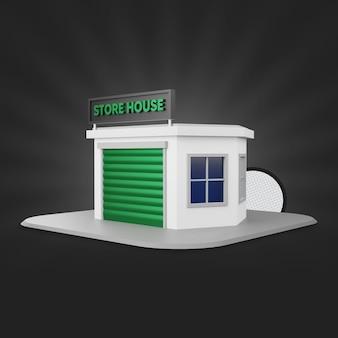 Rendering 3d della casa del negozio verde
