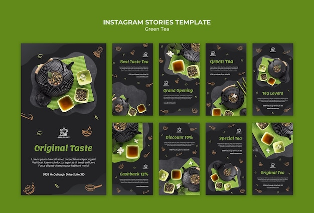 Modello di storie di instagram di tè verde