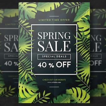 Modello di volantino di vendita tropicale verde