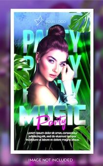 Banner di festa musicale verticale verde Psd Premium
