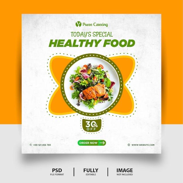 Banner di posta di social media cibo sano di colore verde giallo