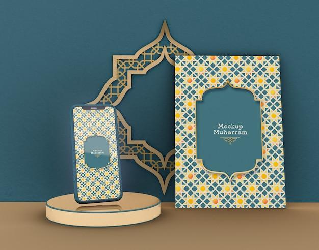 Biglietto di auguri con smartphone mockup. eid mubarak. celebrazione della comunità musulmana.
