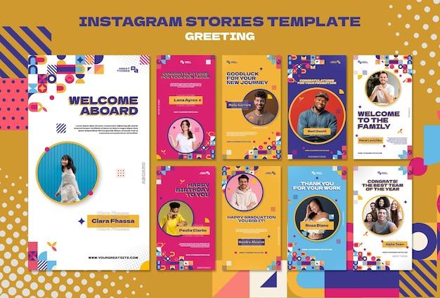 Modello di storie di instagram di saluto