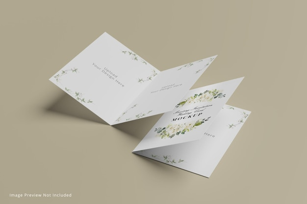 Mockup di biglietti di auguri per inviti di nozze