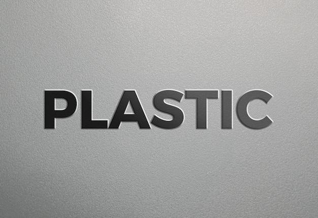 Grey clean plastic texture text effect