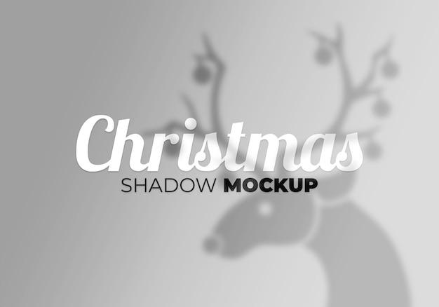 Effetto di sovrapposizione grigio del mockup di ombre di natale trasparenti con cervi