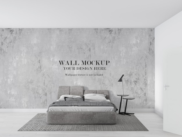 Parete mockup camera da letto minimalista grigia e bianca