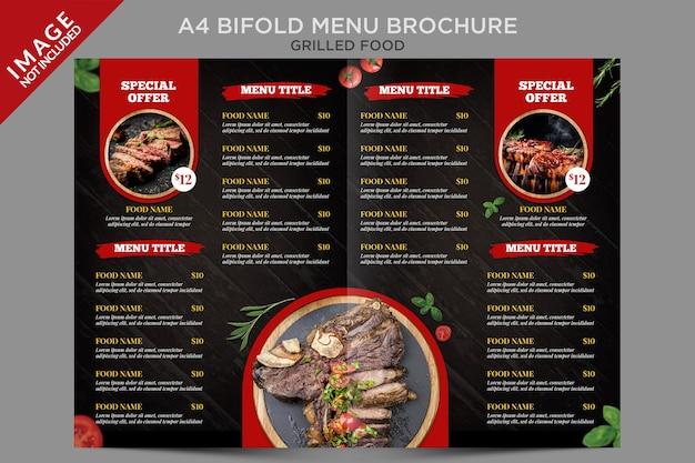 Brochure del menu bifold a4 di cibo alla griglia