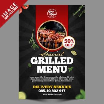 Serie di poster a4 di cibo alla griglia