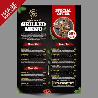 Serie di menu di cibo alla griglia