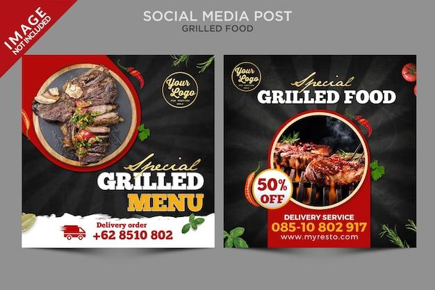 Serie di post sui social media di cibo alla griglia