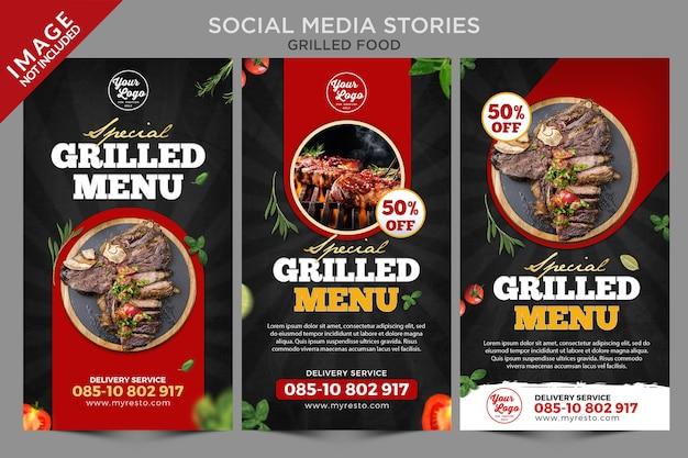 Serie di storie sui social media di cibo alla griglia