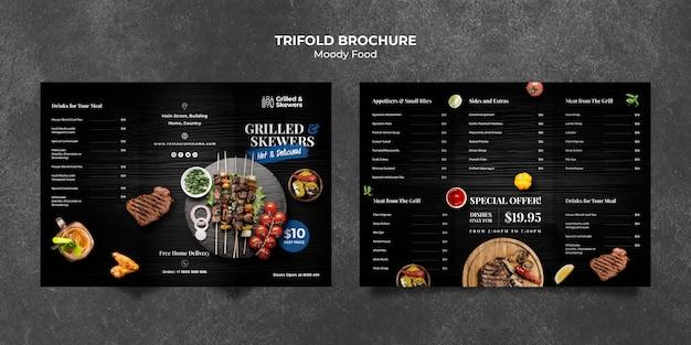 Modello ripiegabile dell'opuscolo del ristorante della bistecca e delle verdure grigliato