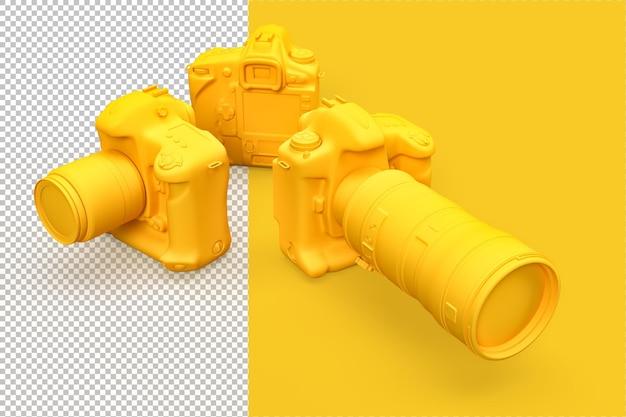 Gruppo di fotocamere dslr nel rendering 3d