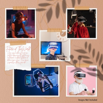 Mockup di mood board per foto di gruppo della realtà virtuale che utilizza persone