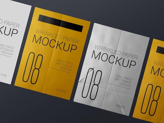 Un gruppo di mockup di modello di poster rugoso realistico. mockup di manifesti rugosi bagnati di carta incollata