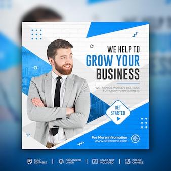Fai crescere la tua azienda modello quadrato post promozione sui social media aziendali
