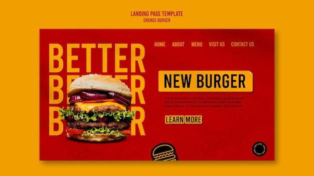 Modello di pagina di destinazione hamburger grunge