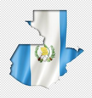Mappa di bandiera del guatemala, rendering tridimensionale, isolato su bianco