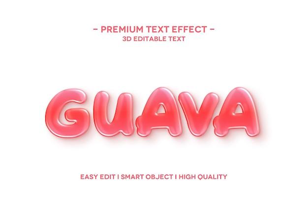 Modello di testo effetto stile testo guava 3d