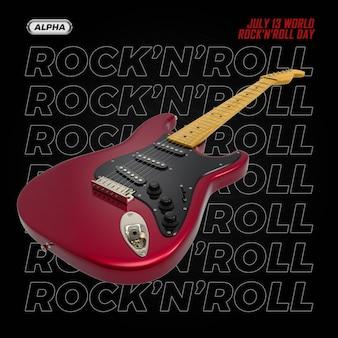 Rendering 3d di chitarra isolato