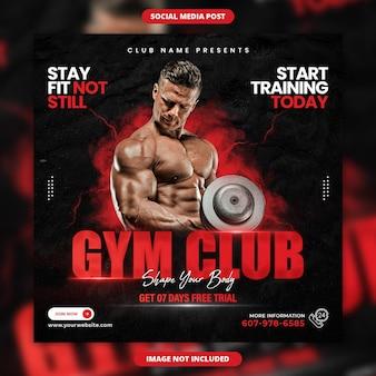 Il club della palestra modella il banner dei social media di fitness del tuo corpo e il design del post di instagram