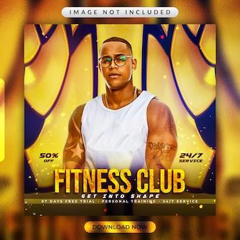 Volantino fitness palestra o modello di banner per social media