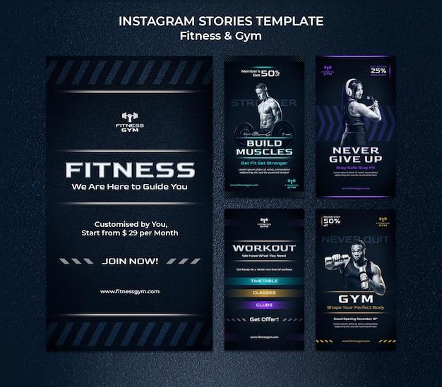 Modello di storie di instagram fitness in palestra
