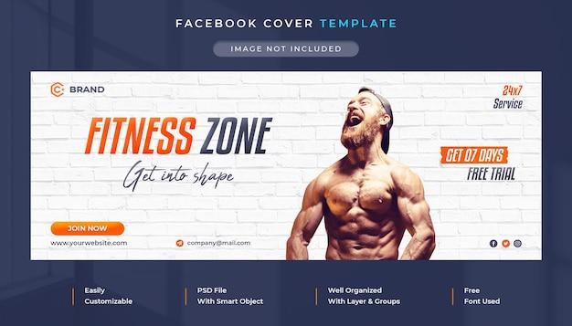 Modello di copertina facebook e banner web promozionale per palestra e fitness