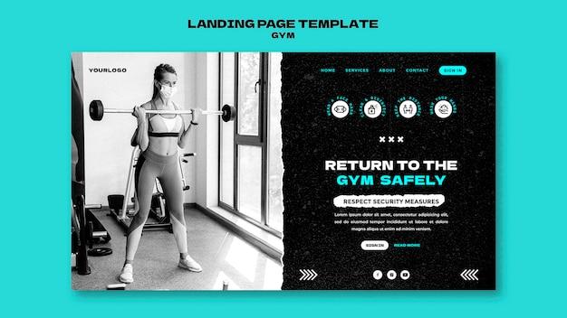 Modello di pagina di destinazione del ritorno in palestra gym Psd Premium