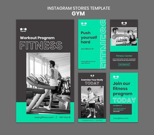Modello di storie di instagram di allenamento in palestra