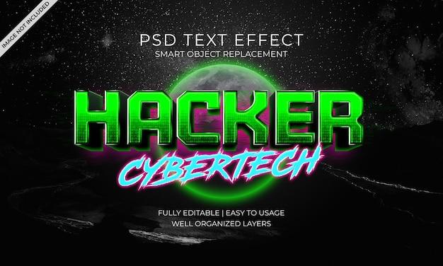 Hacker cybertech modello effetto testo